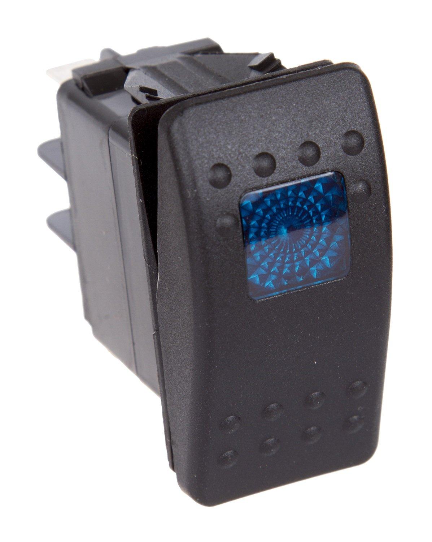 Daystar, Universal Rocker Switch with Blue Light, 20 Amp, Single Pole, KU80011, Made in America