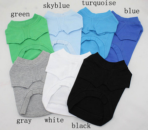 Bulk Stock Dog Blank Plain Cotton T shirt Pet Clothing for Small Large Dog