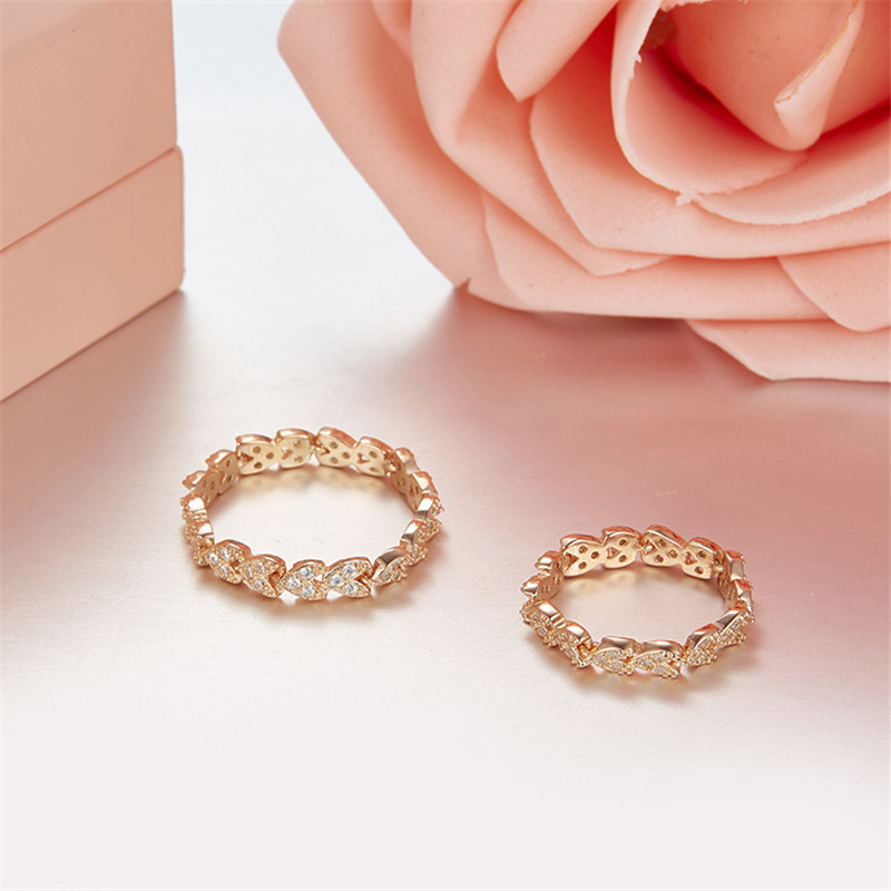 Simple 925 Sterling Silver Real Gold Plated 풀 Round AAA Cubic 지르코니아 잎 씬 영원 Band Size5-8 스택 Promise 링
