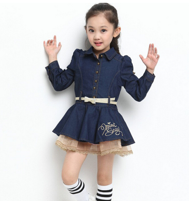 368c68428a Get Quotations · 2014 New Coming Autumn Girls Blue Jeans Dress Kids Party Girl  Dress Kid Dress Free