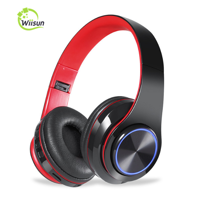 Rainbow LED HIFI Stereo Earphones Sport Wireless Headphone Foldable Blue tooth Headset With MIC Support TF Card, Black;white;red;black+red
