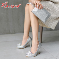 2019 New Italian Design Silver Matching Shoe And Bag Set Women For Party