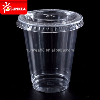 Disposable 8oz 200ml Smoothie Clear Pet Plastic Cups With Flat Lid