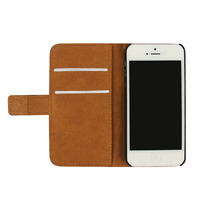 Plain weave Flip Wallet Leather Stand Case For iPhone 5 5s Mobile Phone Cover With Card Slots