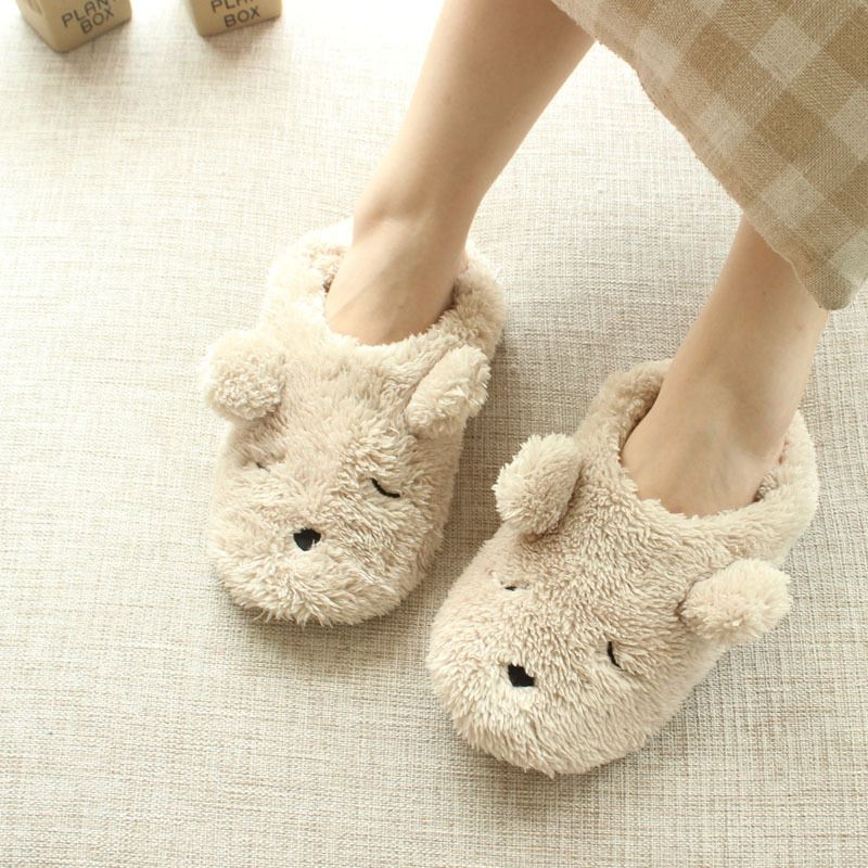Cartoon plush bear autumn and winter home slippers women cute bedroom animal slippers