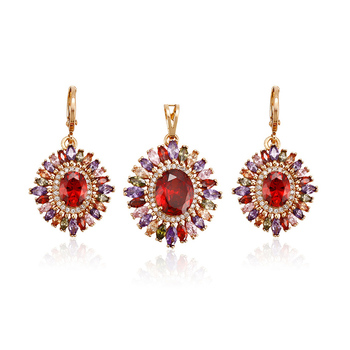64236 Xuping top grade magnet multicolor gold drop earrings geometric jewelry set China wholesale