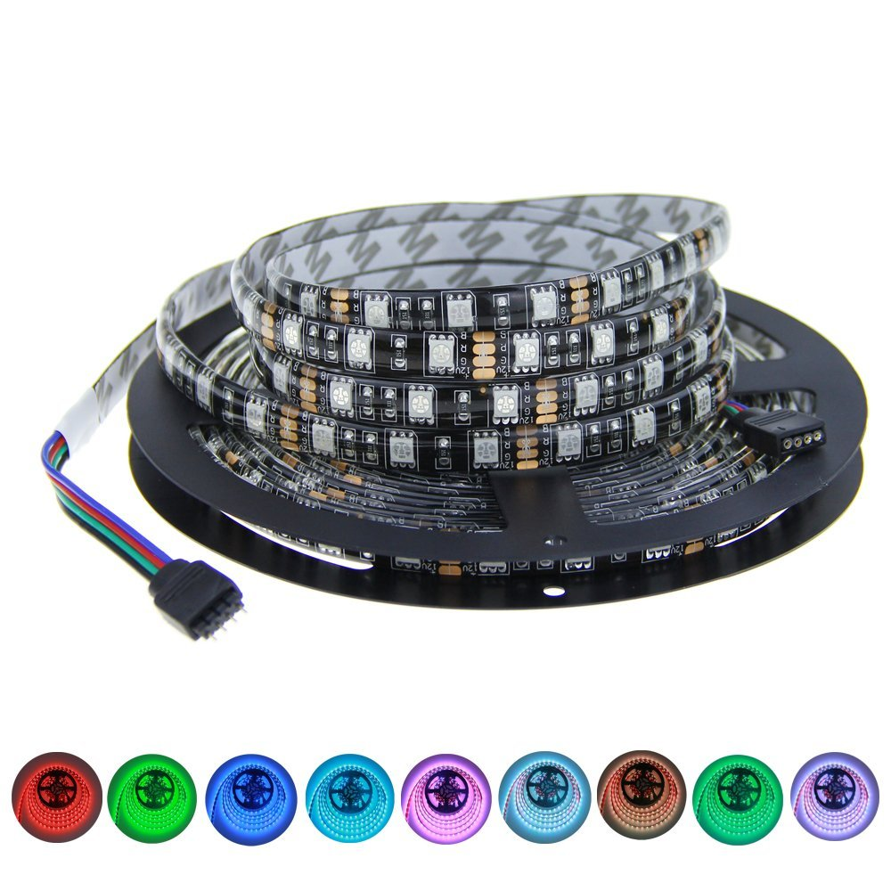 16.4ft 5M 300 LEDs 5050 SMD <strong>RGB</strong> Color Changing LED Flexible Strip Ribbon Light Black PCB DC 12V Waterproof IP65 for Home Garden