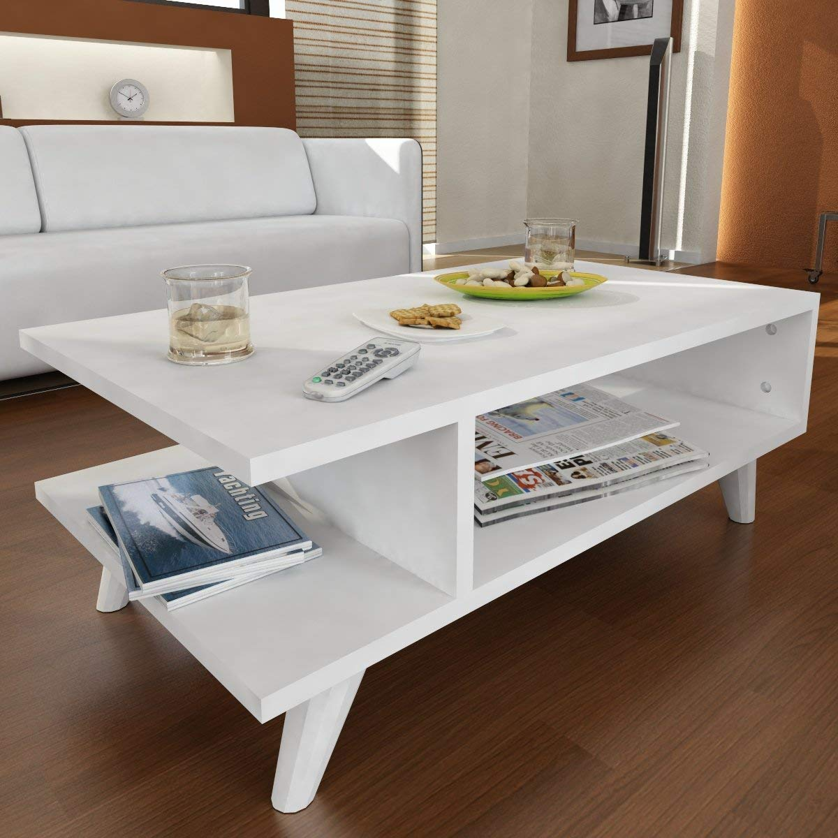 LaModaHome Modern Style Coffee Table - White Modern Coffee Table Wooden Resistant Table - Cocktail Table with Storage - Best Choice For Quality - For Home, Office, Living Room and More