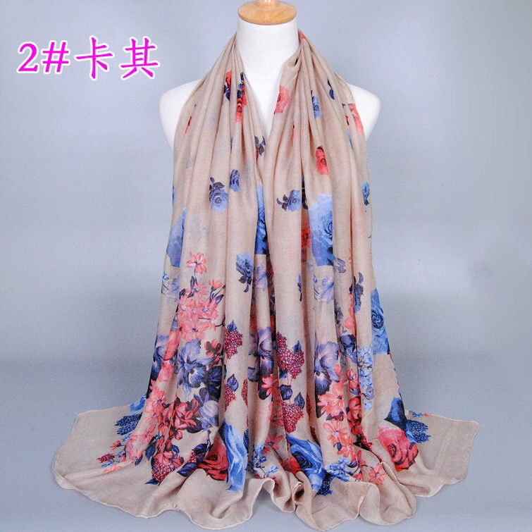Cheap Dubai Muslim Viscose Scarf For Ladies Daily Hijabs Shawls Ethnic Style Print Flower Scarf Any Season