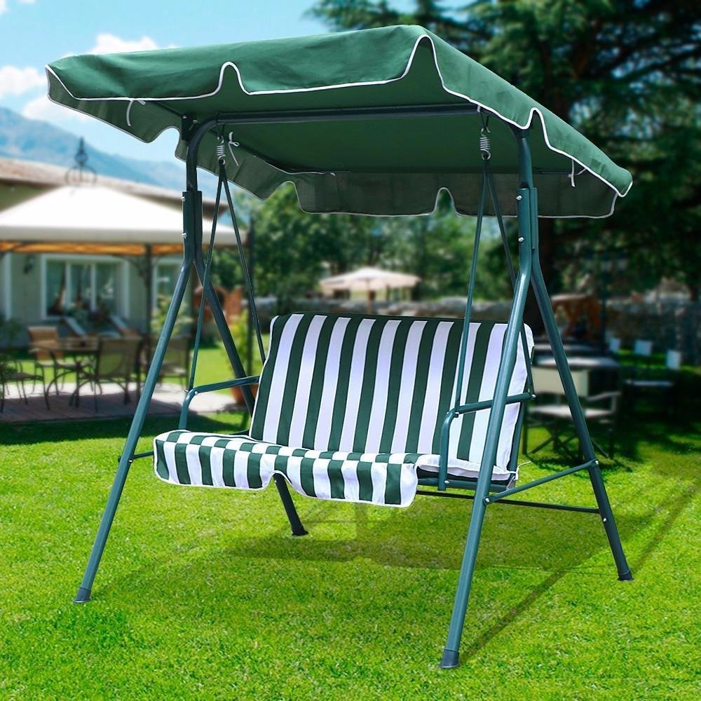 Green Color 2 Two Person Patio Swing Chair Canopy Shade