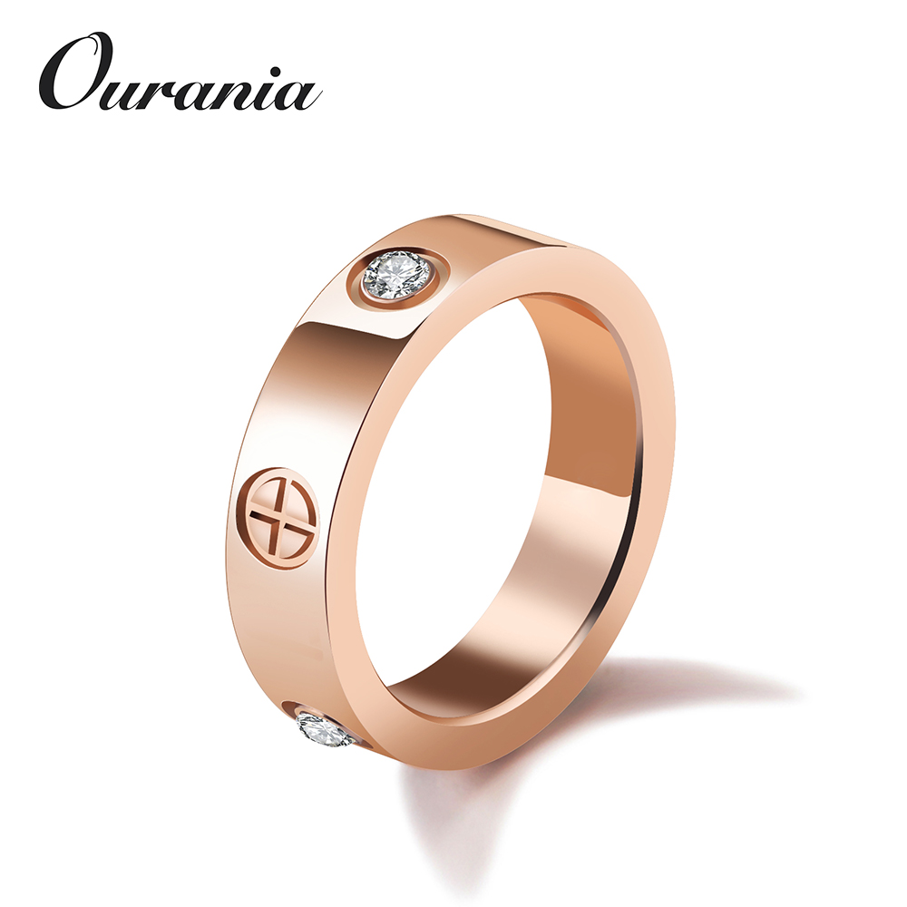 Hot Selling Concise Simple Design Cubic Zirconia Titanium Cross Rose Gold Promise Rings for Girlfriend