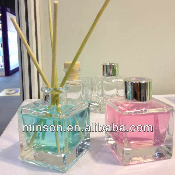 50ml clear square aroma reed diffuser glass bottle with metal collar