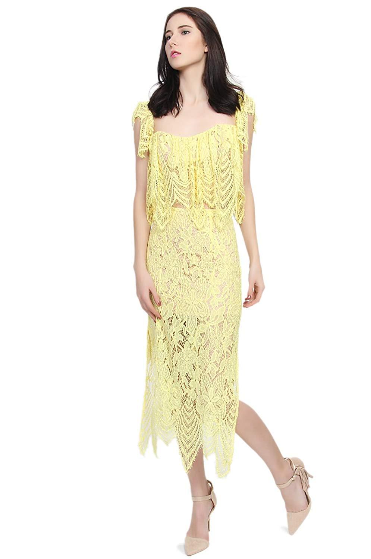 86b12ea9a432e Get Quotations · TheMogan Women's Eyelash Lace Overlay Crop Top & Slit Long  Skirt Two Piece Dress