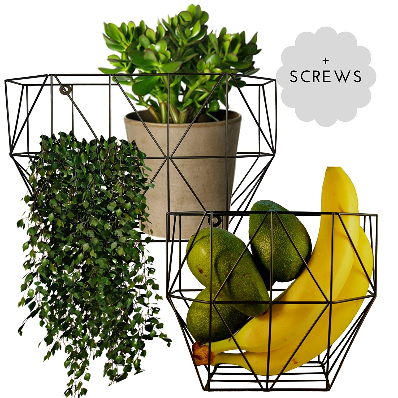 Buy Scandinavian Hub Wire Basket Wall Mount Farmhouse Fruit Basket