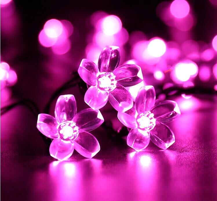 Purple Color Solar Flowers Lights Fairy Outdoor String 50 Led Decorative Flower Garden Light