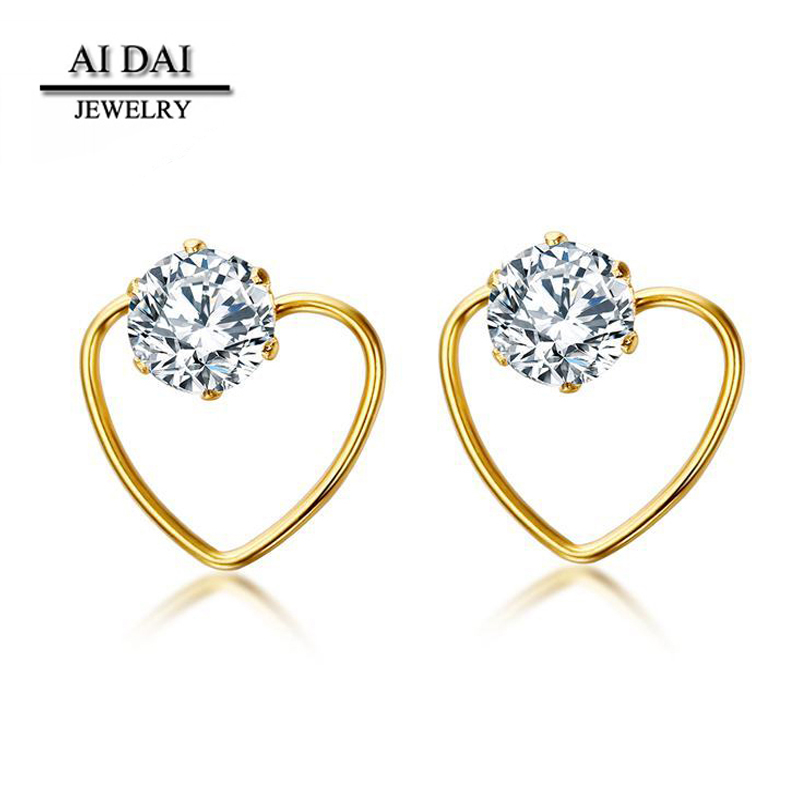 Stainless Steel Jewelry Women's Heart Earrings With Cubic Zirconia Gold Color stud earring