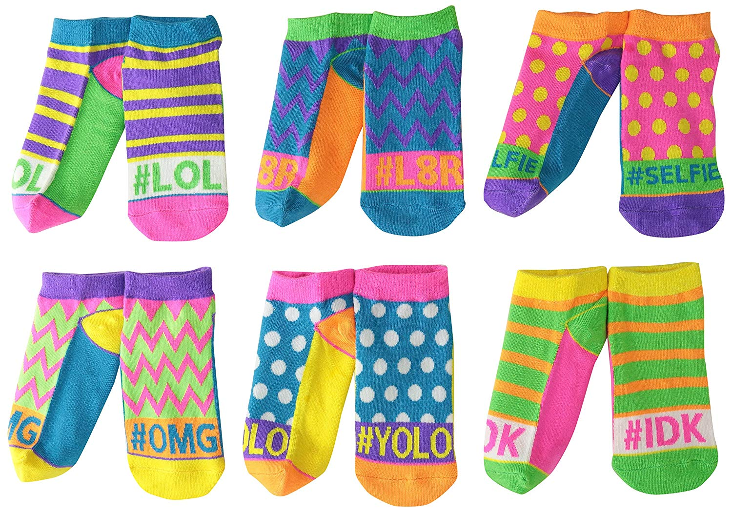 3C4G Three Cheers For Girls Neon Colors Low Cut Socks 2 Pairs