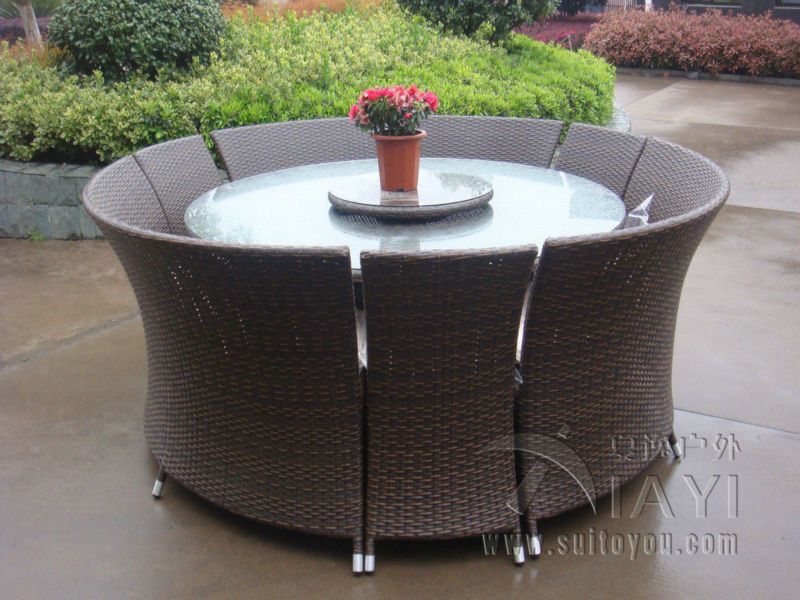 Round Table Patio Dining Sets.7 Pcs Outdoor Rattan Garden Dining Sets All Weather Waterproof Sofa Set Transport By Sea