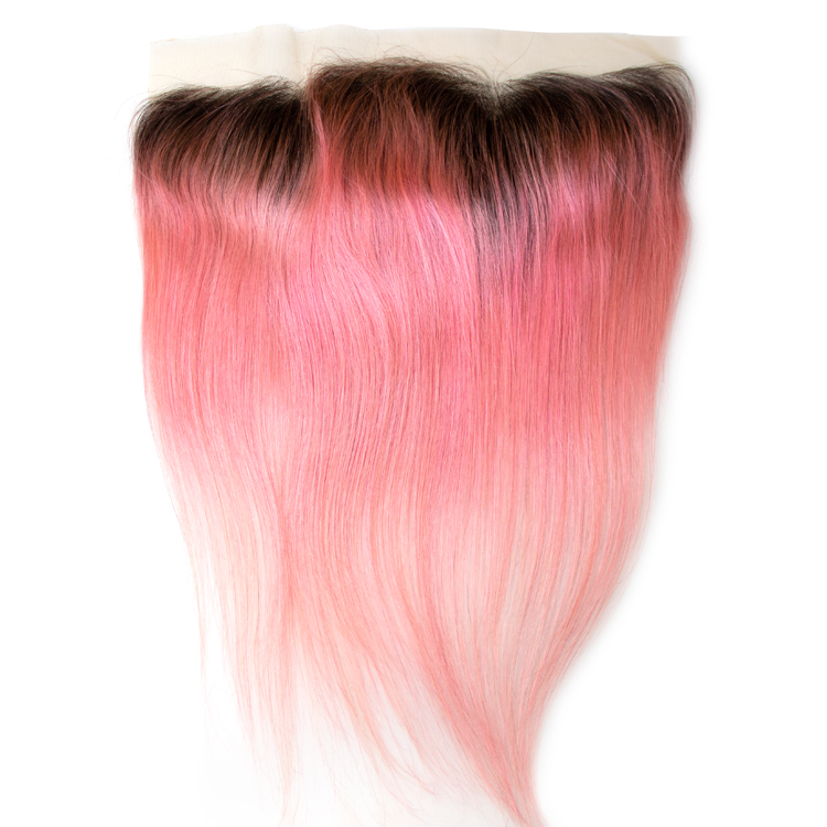 New Arrival Cheap Virgin Dark Root Ombre Color Pink Lace Frontal Closure 4x13 фото