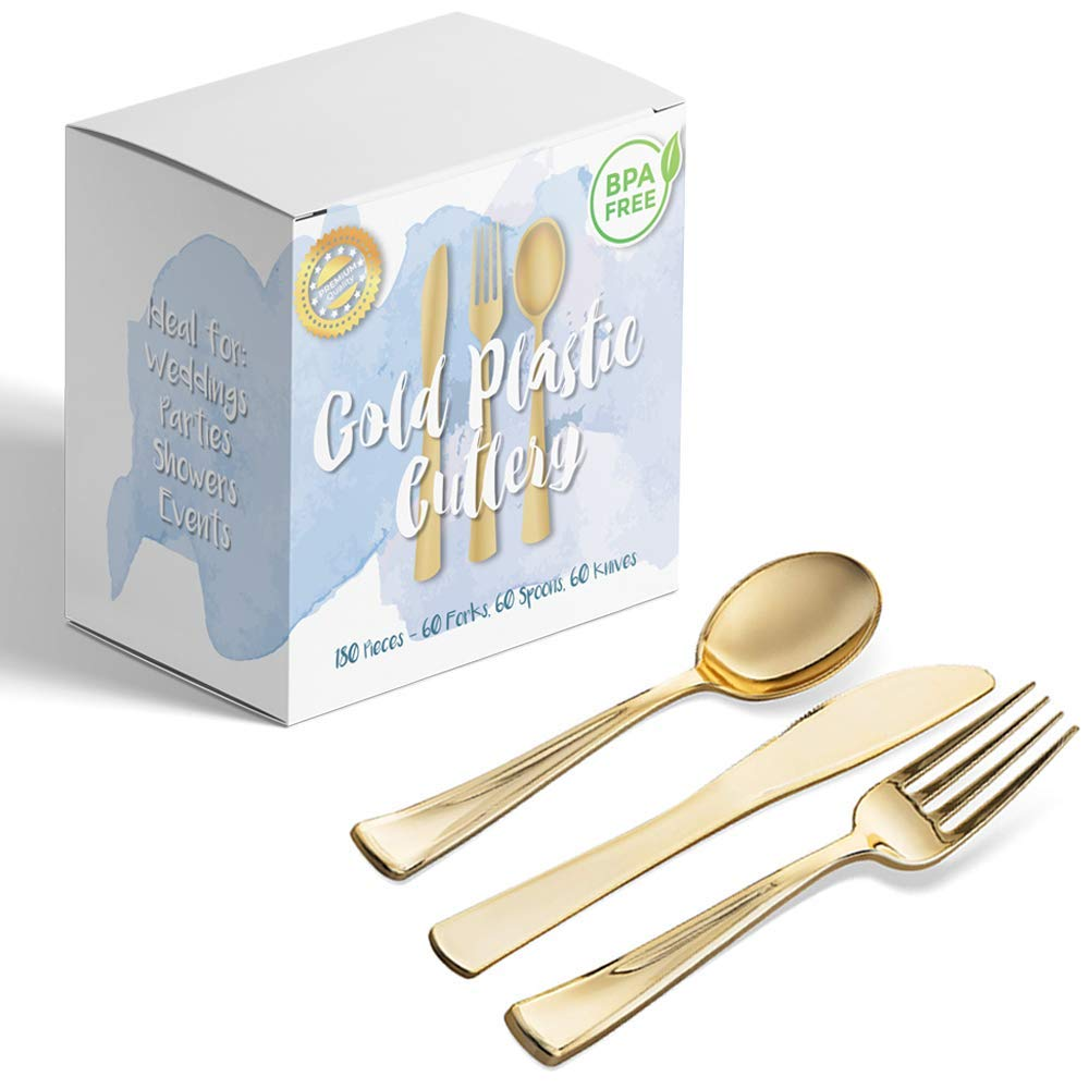 180 Piece Gold Plastic Silverware Disposable & Heavy Duty Flatware Set Includes 60 Forks, 60 Spoons, 60 Knives – Elegant Cutlery for Weddings, Parties, Catering Events