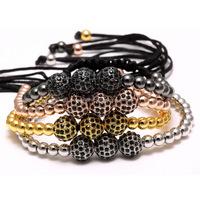 Men's Brass Beads Zircon Bracelet, Gold/Silver/Black Plated Beaded Bracelets for Man