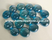 Blue Flat Glass Beads For Aquarium Decorative