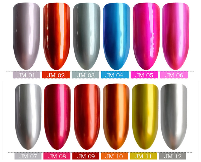 2019 popular fashionable mirror silver nail polish smooth green transparent water