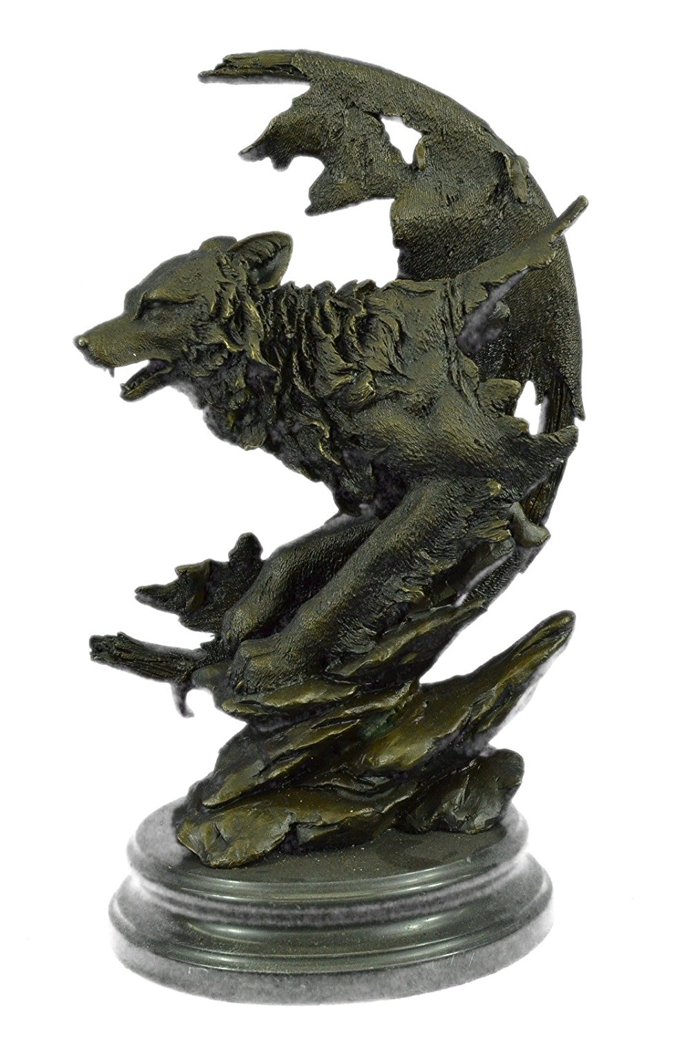 ...Handmade...European Bronze Sculpture Celtic Moon Wolf Hot Cast Marble Base (1X-YDW-119) Bronze Sculpture Statues Figurine Nude Office & Home Décor Collectibles Sale Deal Gifts