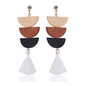 wholesale new fashion triple layered semicircle wood tassel long post stud earrings for women teens girls