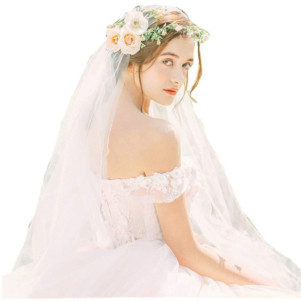 Kelaixiang Lace Hemline Beading Applique Bridal Veil One Layered