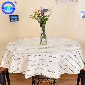 Wholesale Custom Non Slip Home Sense Round Printed Tablecloth+oilcloth  Tablecloth