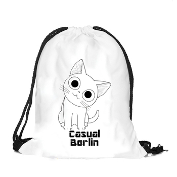 OEM colorful cute cat patterns  polyester draw string bag 210D drawstring backpack