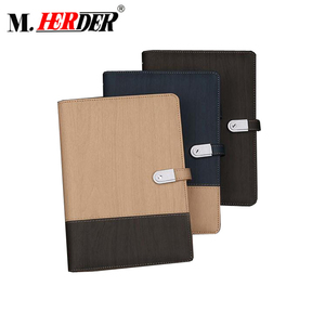 Customized high-grade notebook with wireless power bank adapter with menu holder