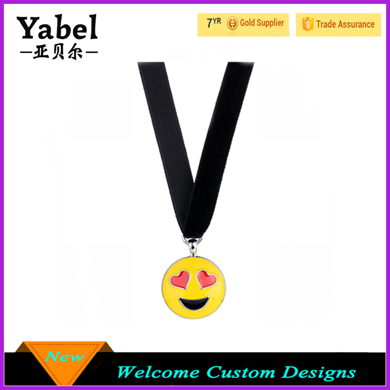 The Latest Design Beads Necklace 2017 Cute Emoji Necklaces & Pendants Handmade Anime Black Velvet Necklace