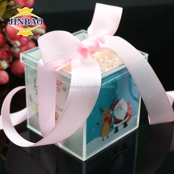 Jinbao Decorative Large Acrylic Christmas Gift Boxes With Ribbon And