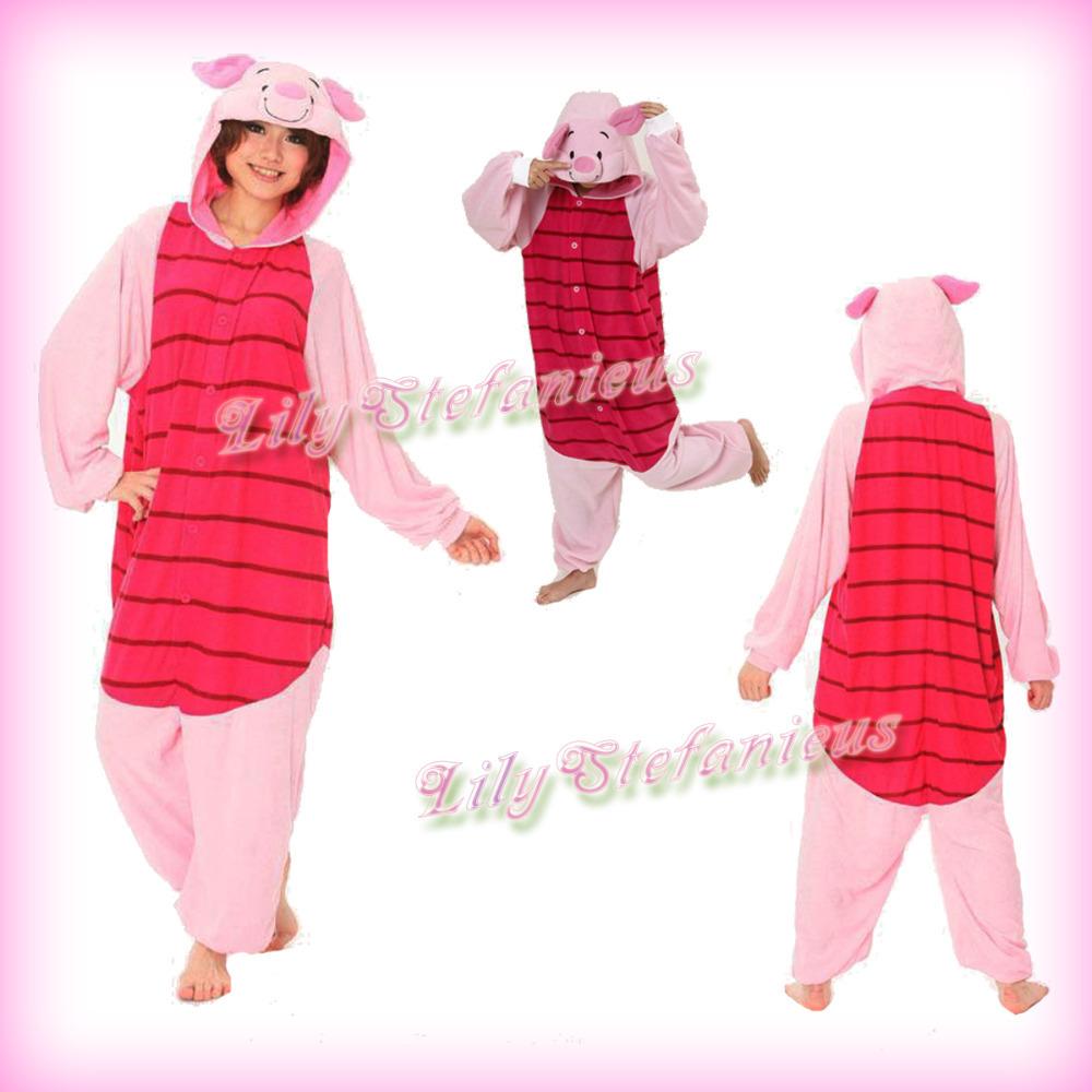 2eee8921a0 Get Quotations · Hot Cartoon Piglet Pig Costume Animal Cosplay Adult Unisex  Anime Halloween Onesies Sleepwear Pajamas Free Shipping