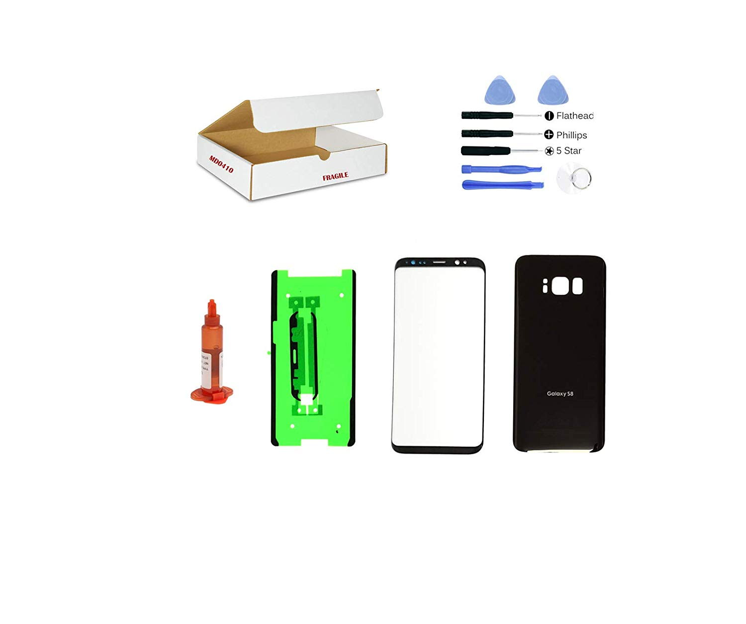 (md0410) Black Front Outer Glass Lens, Back Cover Replacement Compatible Galaxy S8 G950 + Adhesive + Opening Tool (LCD Screen & Touch Digitizer Not Included)