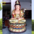 High quality Painting fiberglass Standing Buddha statues sculpture for Church decorate