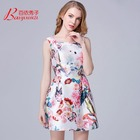 China popular woman summer long Polyester floral printed dress and lycra dress for ladies