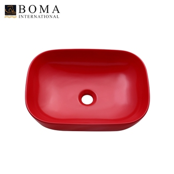 Rectangular Porcelain Above Counter Matte Red Vessel Bowl Sink Supplier Ceramic Countertop Product On