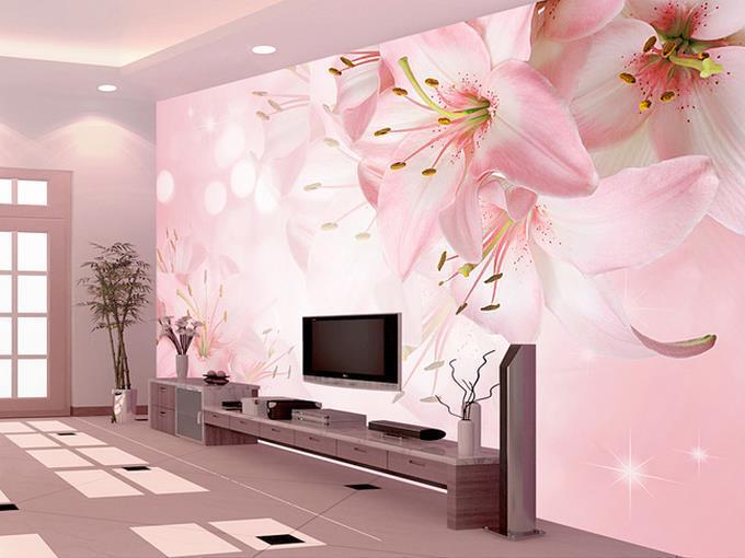 Large Murals Pink Flower / Living Room TV Backdrop
