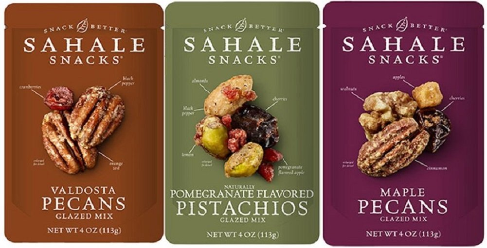 Sahale Snacks Glazed Nut Blends 3 Flavor Variety Bundle: (1) Sahale Snacks Maple Pecans With Walnuts, Cherries & Cinnamon, (1) Sahale Snacks Valdosta Pecans With Sweet Cranberries, Black Pepper & Orange Zest, and (1) Sahale Snacks Pomegranate Pistachios With Almonds, Cherries & Black Pepper, 4.0