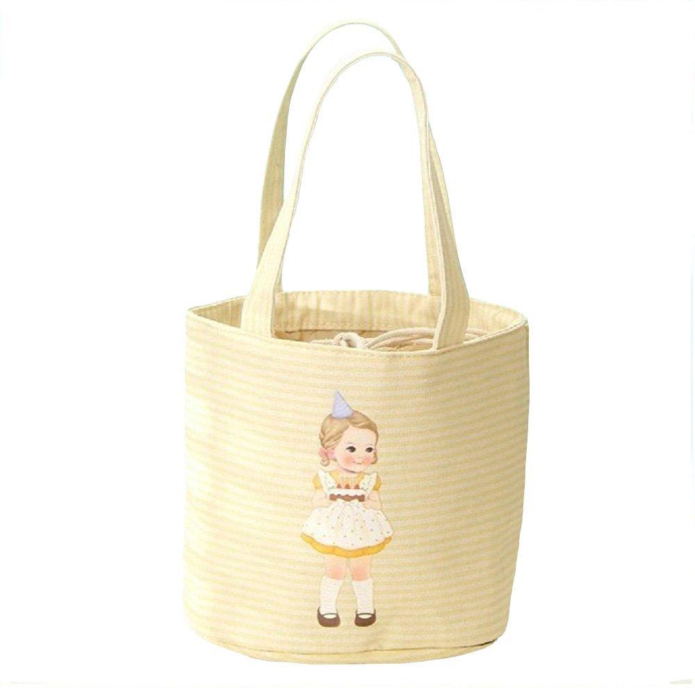 Snack bag / Gift bag / Playbag, Little Girl Pattern Striped Insulated Tote Gift Bag / Snack Bag / Drink Bag / Fruit Bag / Kids Play Bag /Grocery Bag / Carry bag Multi-colors (Yellow)
