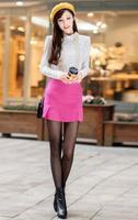 Stylish Lady Women's European Style High Waist Fluffy Short Mini Ruffle A-line Solid Skirts