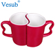 Wholesale Custom 11oz Black Hot Water Color Changing Heart Shape Sublimation Ceramic Scissor Handle Magic Couple Coffee Mug