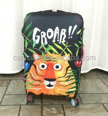 High quality digital printing waterproof luggage covers spandex bag suitcase cover
