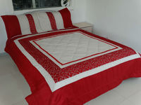 poly cotton comforter with ultrasonic embroidery and lace