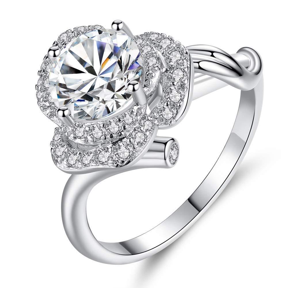 2b750ade4b23 Get Quotations · Slendima Elegant Rose Flower Shiny Cubic Zirconia CZ  Finger Ring Fashion Wedding Bridal Jewelry - 4