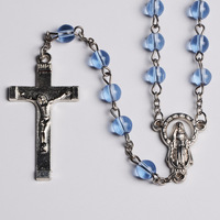 Hotselling Cheap 6MM Glass Blue Beads Italian Rosary Saint Guadalupe Rosary with Crucifix Cross