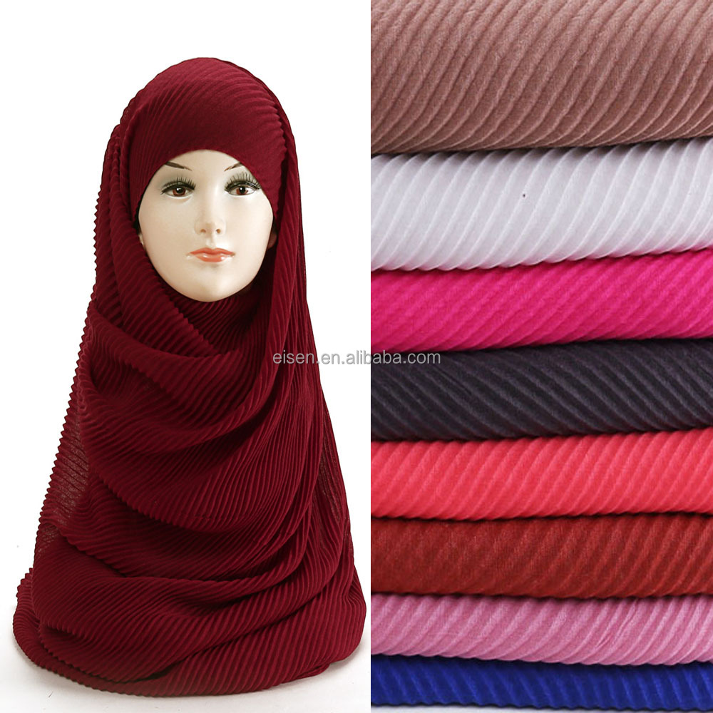 Hot Selling Solid Colour Women Pleated Muslim Hijab Scarf Shawls Crinkle Hijab 90*180cm